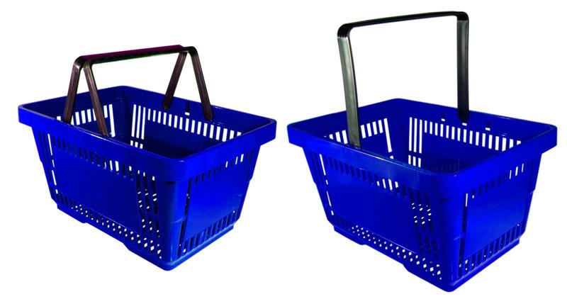 Porównanie koszyków sklepowych z jedną i dwoma rączkami.